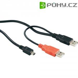 Dvojitý USB kabel, 2x USB 2.0 zástrčka A ⇔ 1x USB 2.0 zástrčka mini-B, černá, 1 m