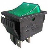 Tlačítko-kolébka OFF-(ON) 2pol.250V/15A zelené 2C