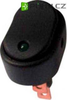 Kolébkový přepínač do auta SCI R13-133L-SQ GREEN, 30 A, 12 V/DC, zelená LED