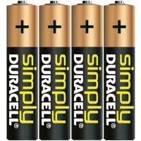 Alkalická baterie Duracell Simply, typ AAA, sada 4 ks