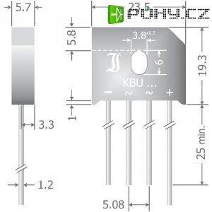 Křemíkový můstkový usměrňovač Diotec KBU6M, U(RRM) 1000 V, 6 A, SIL