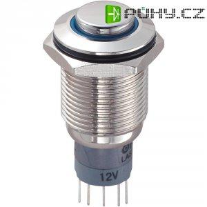 Tlačítkový spínač antivandal s aretací TRU COMPONENTS LAS2GQH-11ZE/B/12V/N/P, 250 V/AC, 3 A, mosaz, 1x zap/zap, modrá