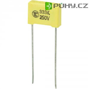 Foliový kondenzátor MKS, 0,033 µF, 250 V, 5 %, 13 x 4 x 9 mm