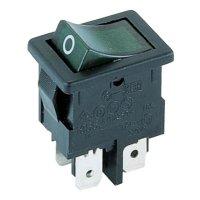 Kolébkový spínač Marquardt 1855.1108, 2x vyp/zap, 250 V/AC, 4 A, zelená/černá