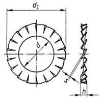 Vějířovité podložky TOOLCRAFT A4,3 D6798 194754 DIN 6798, Ø: 4.3 mm, pružinová ocel, 100 ks
