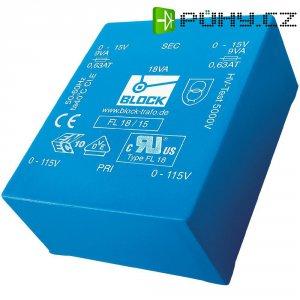 Plochý transformátor do DPS Block FL 14/15,UI 39/10,2, 2x 115 V, 2x 15 V, 2x 466 mA