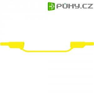 Měřicí silikonový kabel banánek 4 mm ⇔ banánek 4 mm MultiContact XVS-4075,1 m,zelená/žlutá
