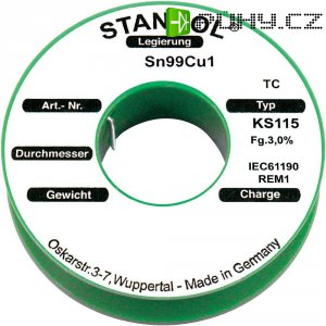 Cínová pájka PBF Sn99Cu1, Ø 1,5 mm, 500 g, Stannol KS115