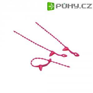 Perličkový stahovací pásek s příchytkou KSS STVR130RD7, 130 x 3 mm, červená