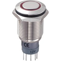 Tlačítkový spínač antivandal TRU Components LAS2GQF-11ZE/R/12V/N/P, 250 V/AC, 3 A, 1 ks