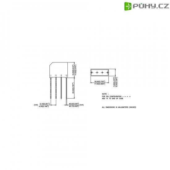 Dioda/usměrňovač IR 2KBB80R, U(RRM) 800 V, U(FM) 1 V, I(F) 2 A, D-37 - Kliknutím na obrázek zavřete