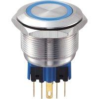 Tlačítko antivandal bez aretace TRU COMPONENTS GQ25-11E/B/12V, 250 V/AC, 5 A, nerezová ocel, 1x zap/(zap), modrá