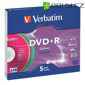 Verbatim DVD+R 4,7GB 16X 5 ks SC COLOR