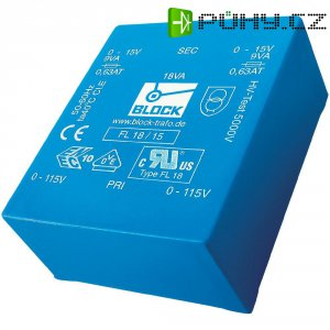 Plochý transformátor do DPS Block FL 24/15, UI 39/17, 2x 115 V, 2x 15 V, 2x 800 mA