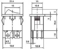 Vypínač kolébkový ON-OFF 2pol.250V/3A žlutý