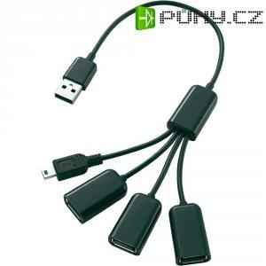 Rozbočovač hub 3+1 port, USB 2 .0, 30 cm