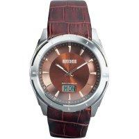 Retro ručičkové náramkové DCF hodinky Eurochron EFAU 9203, kožený pásek
