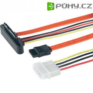 Kabel k HDD, SATA 7pól., IDE 4pól. ⇒ SATA 7+15pól., černá, 0,5 m