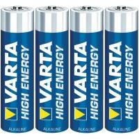 Alkalická/manganová baterie Varta High Energy, typ AAA, sada 4 ks