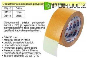 Lepící páska oboustranná polypropylénová 50mmx10m