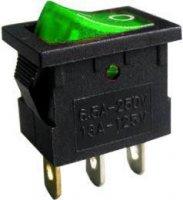 Vypínač kolébkový OFF-ON 1pol.250V/3A,zelený