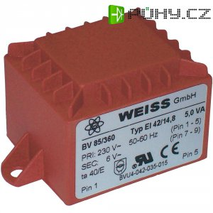 Transformátor do DPS Weiss Elektrotechnik 85/367, 5 VA, 2 x 9 V, 278 mA
