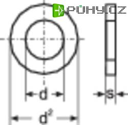 Podložka plochá TOOLCRAFT A4,3 D125-A2 188710, Ø: 4,3 mm/9 mm, ušlechtilá ocel, 100 ks