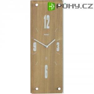 Analogové DCF nástěnné hodiny, 14,5 x 42 x 4 cm, světlý dub