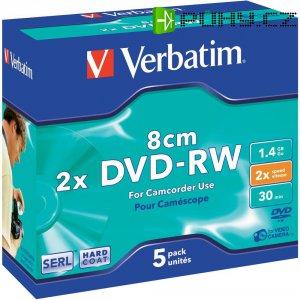 Verbatim DVD-RW 8CM 1,4GB 2X 5 ks HC