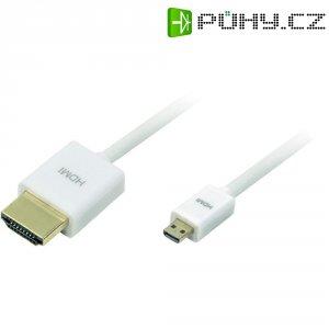 HDMI kabel, zástrčka/zástrčka micro D, bílý, 1,5 m