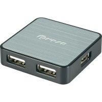 USB 2.0 hub, 4-portový, hliníkový