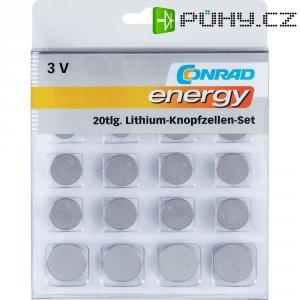 Sada knoflíkových lithiových baterií, 20 ks