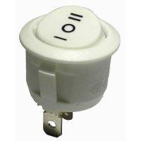Kolébkový spínač, s aretací, 250 V/AC, 6 A, zap/vyp/zap, bílá