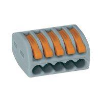 Svorka Wago, 222-415, 0,08 - 2,5/4 mm², 5pólová, šedá/oranžová