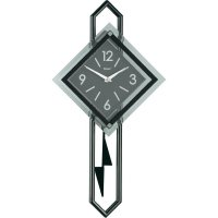 Quarz kyvadlové hodiny - pendlovky, 28 x 54 cm, černá/stříbrná