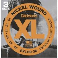 Sada kovových strun na elektrickou kytaru D´Addario EXL 110-3D, 010 - 046