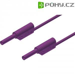 Měřicí kabel banánek 2 mm ⇔ banánek 2 mm SKS Hirschmann MVL S 25/1 Au, 0,25 m, fialová