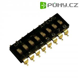 DIP spínač APEM IKL0800000, 500 V/DC, rastr 2,54 mm, standardní, 8 pól.