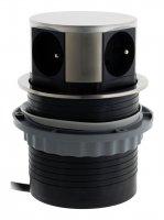 HBF 760096 výsuvná zásuvková lišta s povrchovou úpravou INOX se 4 zásuvkami 230V, 1,5m kabel