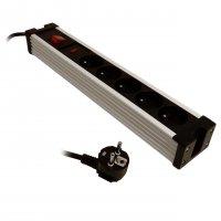 HBF přepěťová ochrana 1,5 m s 5 zásuvkami a vypínačem - černá barva
