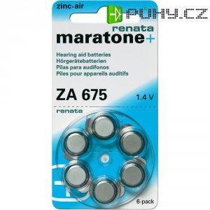 Knoflíková baterie Renata PR44, vel. ZA 675, zinek-vzduch, vhodné do naslouchátek, 650 mAh, 1,4 V, 6 ks