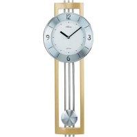 Quarz kyvadlové hodiny - pendlovky, 5084//30, 22 x 61 cm, dřevo, sklo, kov, stříbrná