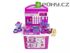 Kuchyňka dětská G21 s příslušenstvím v kufru PINK
