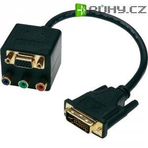 Splitter DVI vidlice ⇔ VGA zásuvka/3x cinch, 0,2 m, černý, Digitus