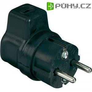 Gumový úhlový konektor, zástrčka SchuKo, 230 V, černá