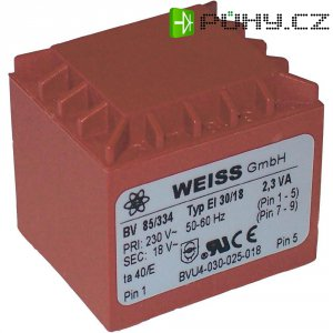 Transformátor do DPS Weiss Elektrotechnik 85/339, 2.3 VA, 2 x 15 V, 77 mA