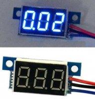 Voltmetr panelový LED modrý, 0-30V