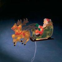 Vánoční osvětlení do okna Santa na saních se soby, 20 žárovek