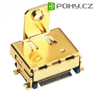 HDMI konektor BKL Electronic 907004, zásuvka vestavná vertikální, 19pól., zlatá