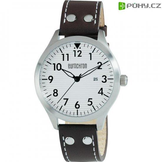Ručičkové náramkové hodinky Eurochron Pilot F21 Quartz, kožený pásek, černá - Kliknutím na obrázek zavřete